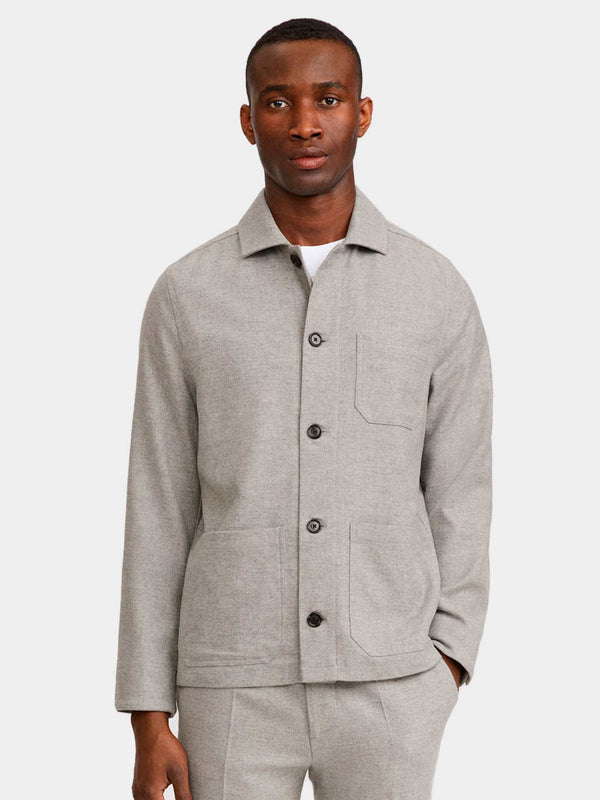 Louis Flannel Jacket | Warm Grey Melange