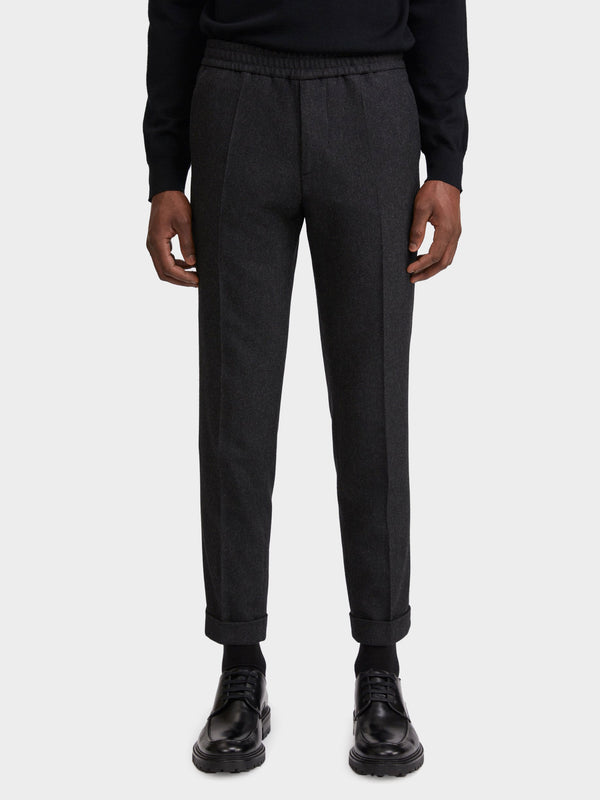 Terry Flannel Trouser | Dark Grey Melange