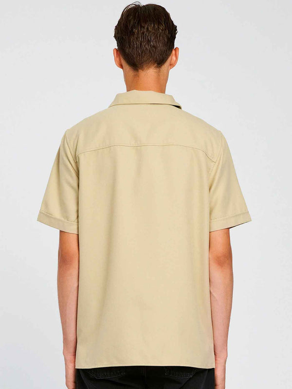 Kirby Short Sleeve Zip Shirt | Warm Grey
