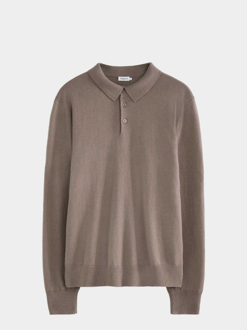 Knitted Polo Shirt | Dark Taupe