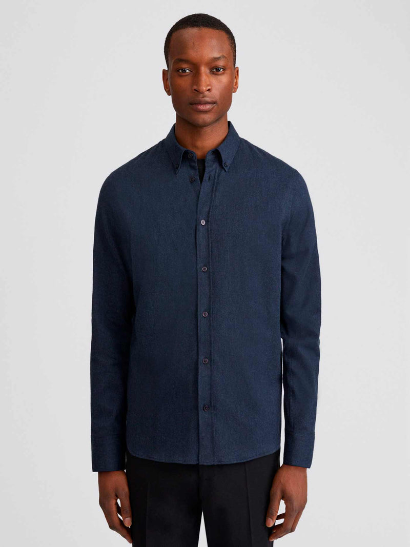 Lewis Flannel Shirt | Dark Blue Melange