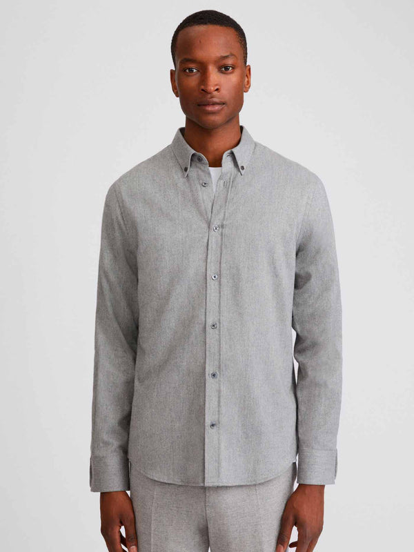 Lewis Flannel Shirt | Grey Melange