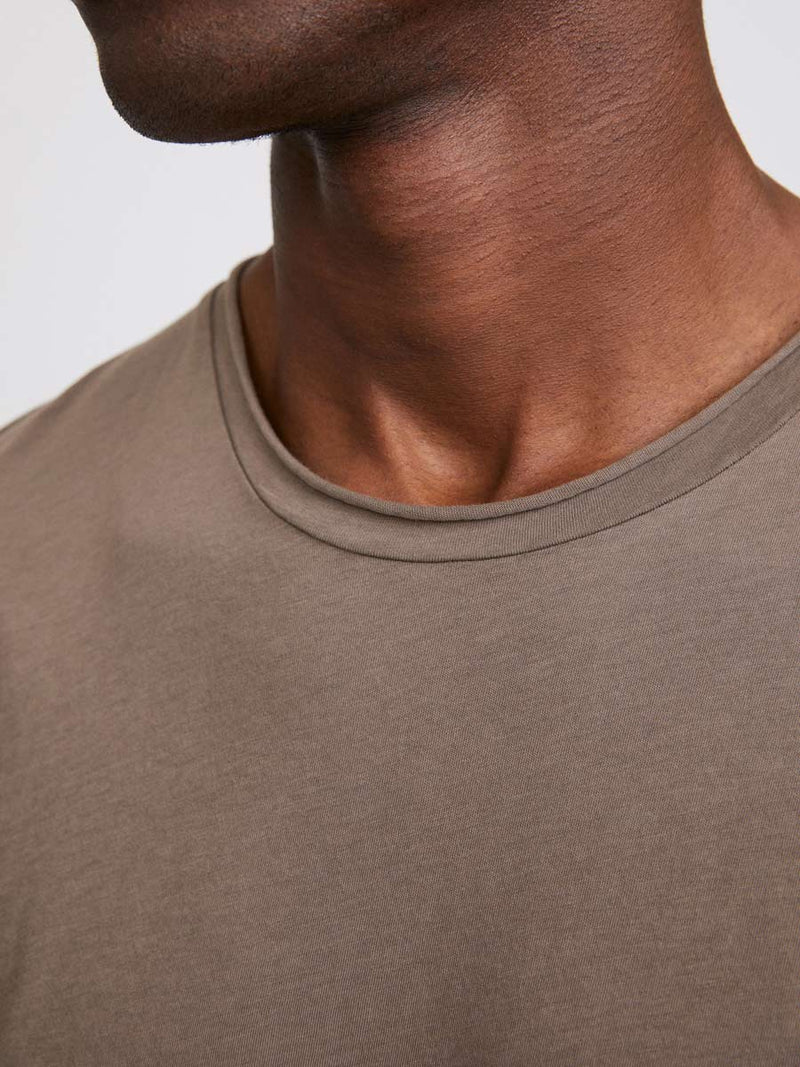 Roll Neck Tee | Dark Taupe