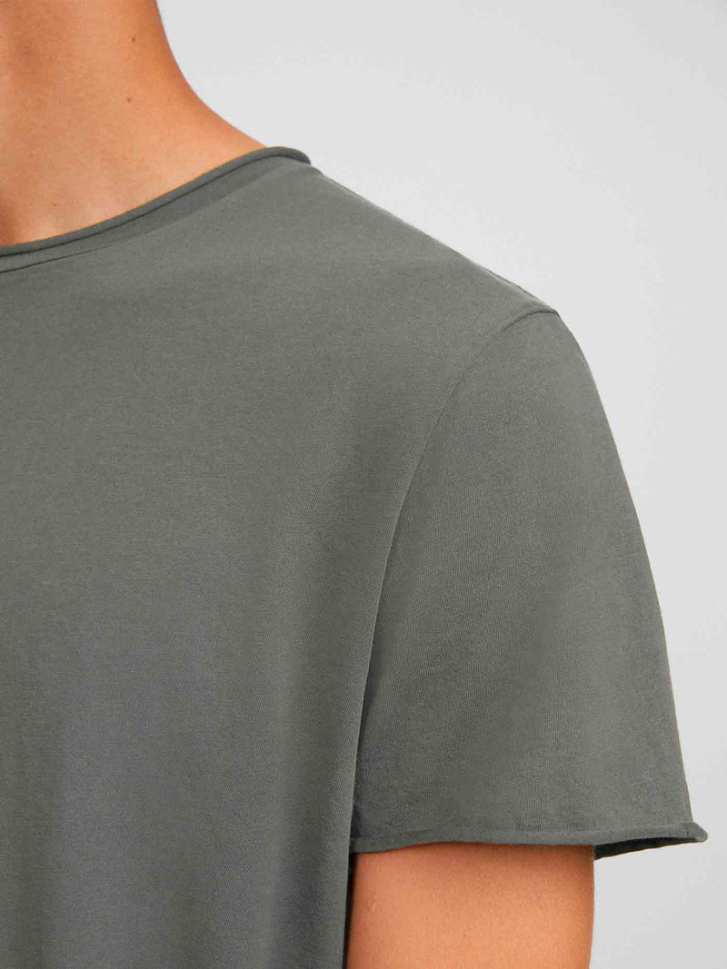 Roll Neck Tee | Green Grey