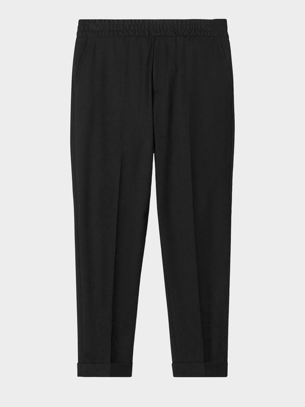 Terry Cropped Trouser | Black