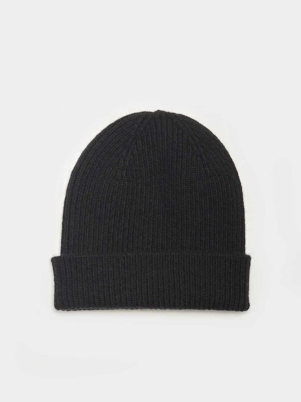 Merino Wool Beanie | Deep Black