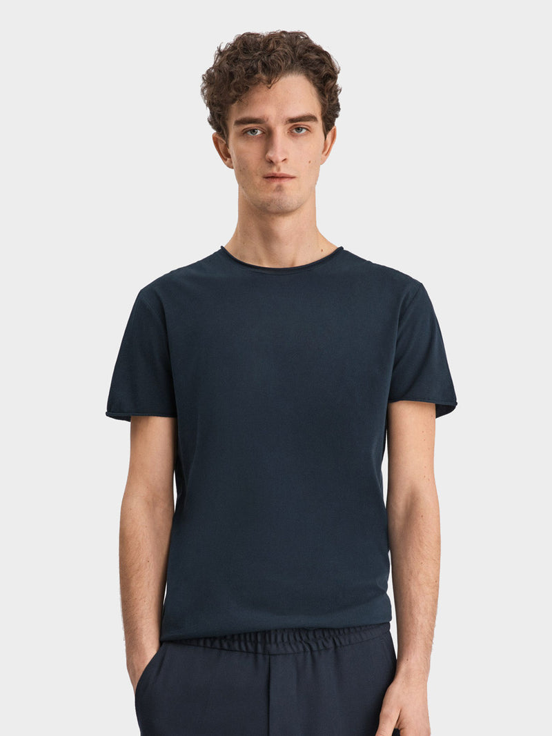 Roll Neck Tee | Navy