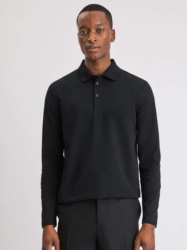 Luke Lycra Polo Shirt | Black