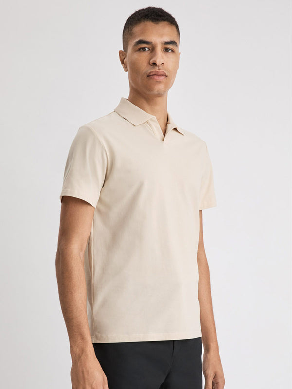 Lycra Polo Tee | Almond White