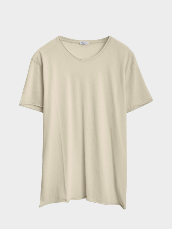 Roll Neck Tee | Almond White
