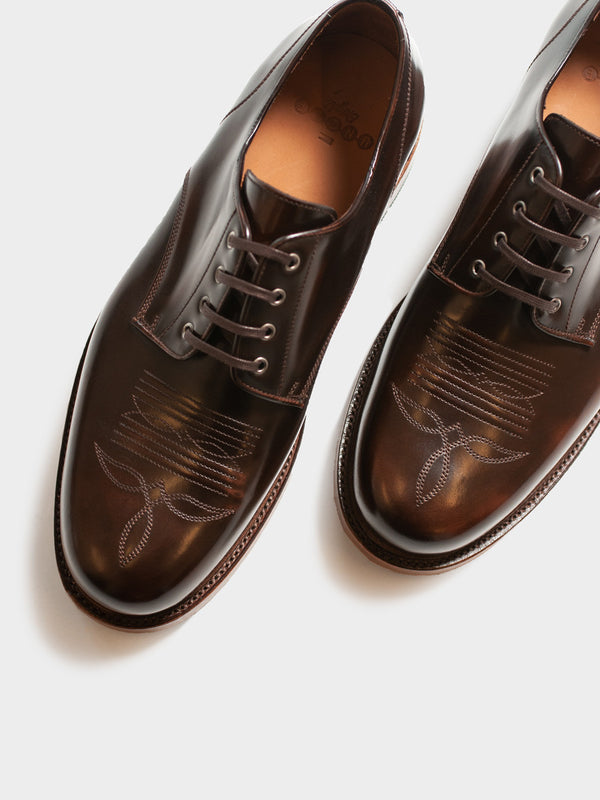 Western Derby Shoe | Cognac Highshine