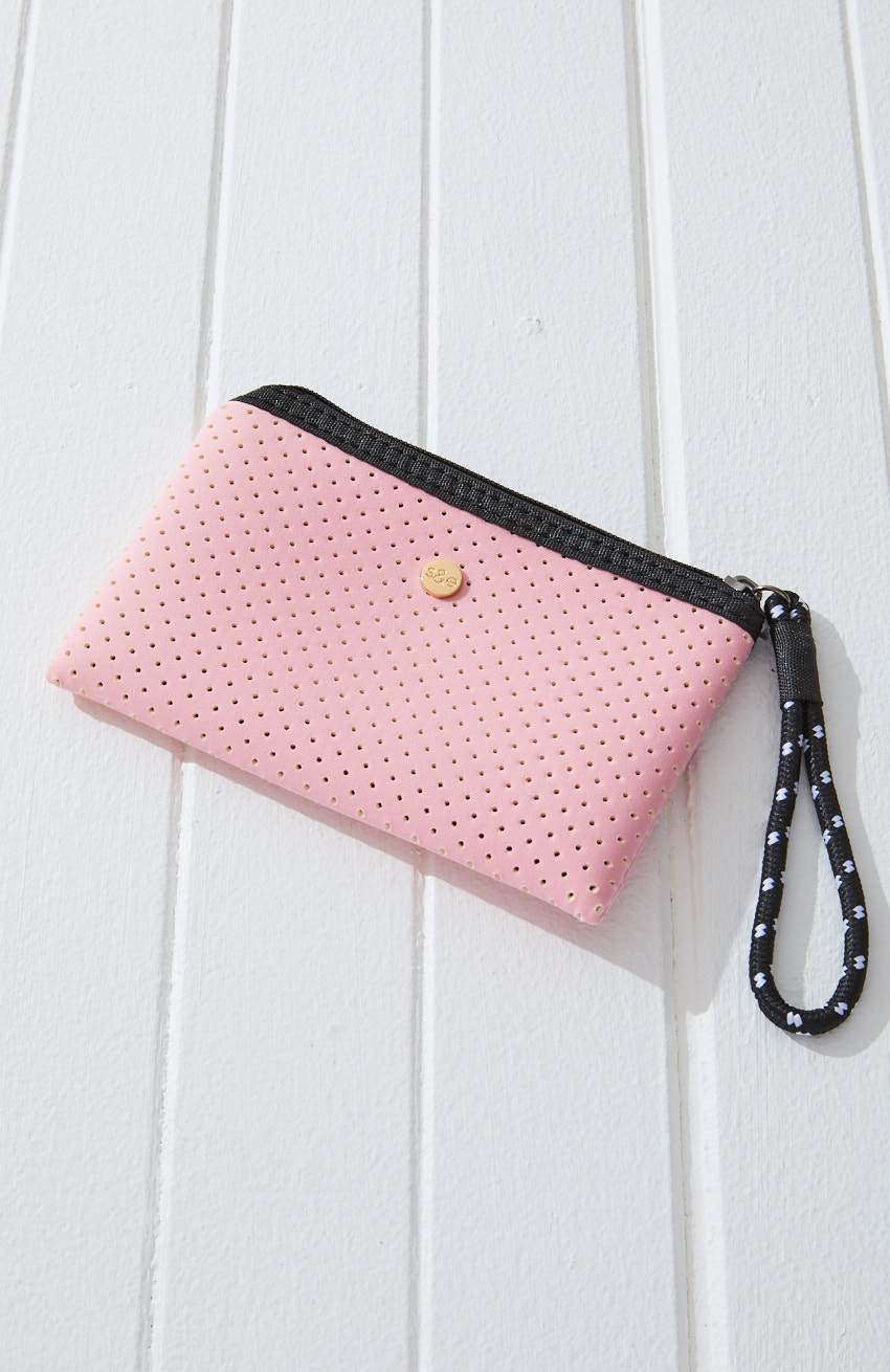 neoprene perforated pastel coin purse keyring
