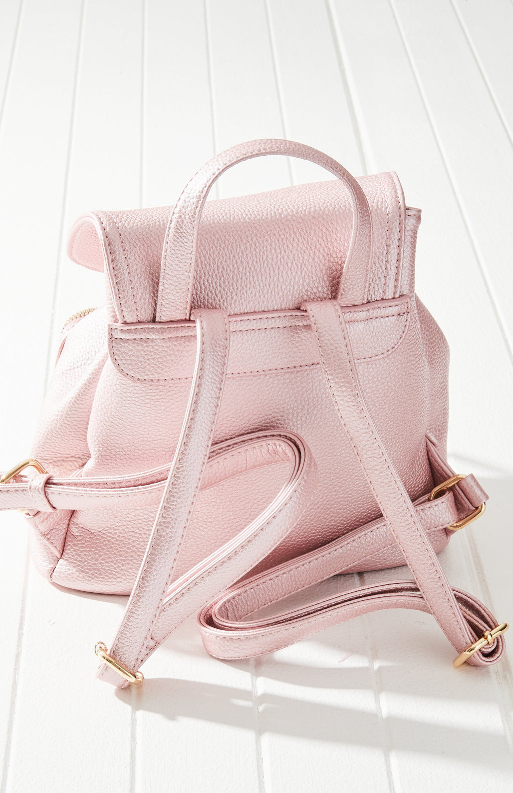 hannah satchel pastel metallic vegan leather buckle backpack