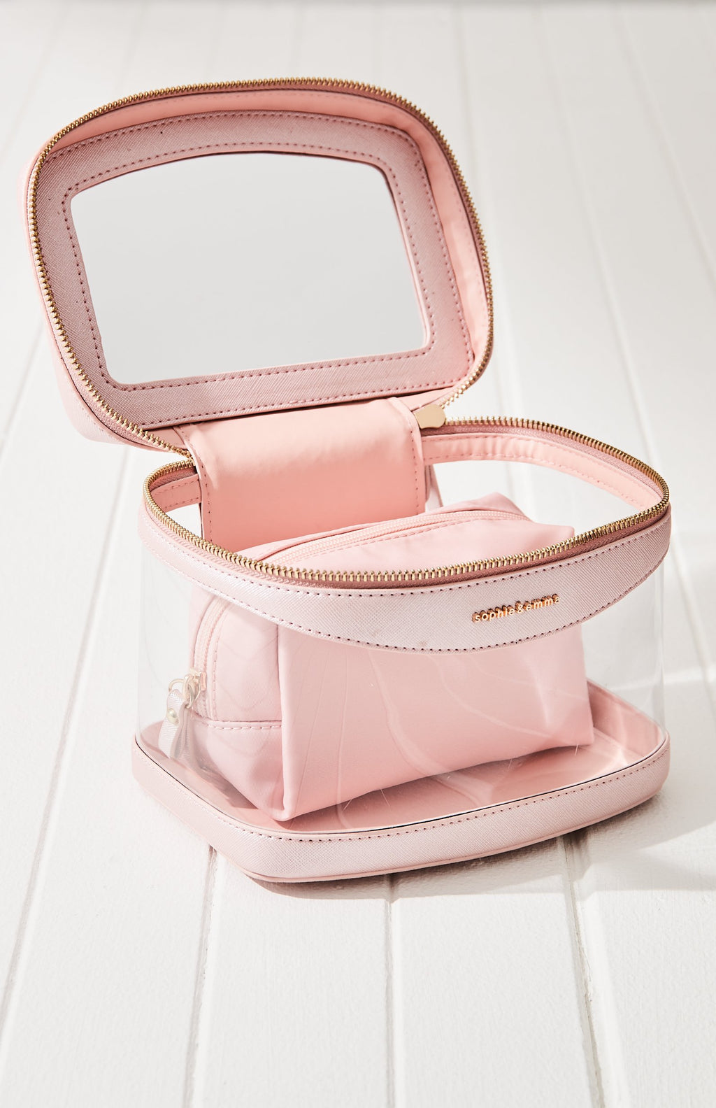 cosmetic bag vegan leather travel vanity case set