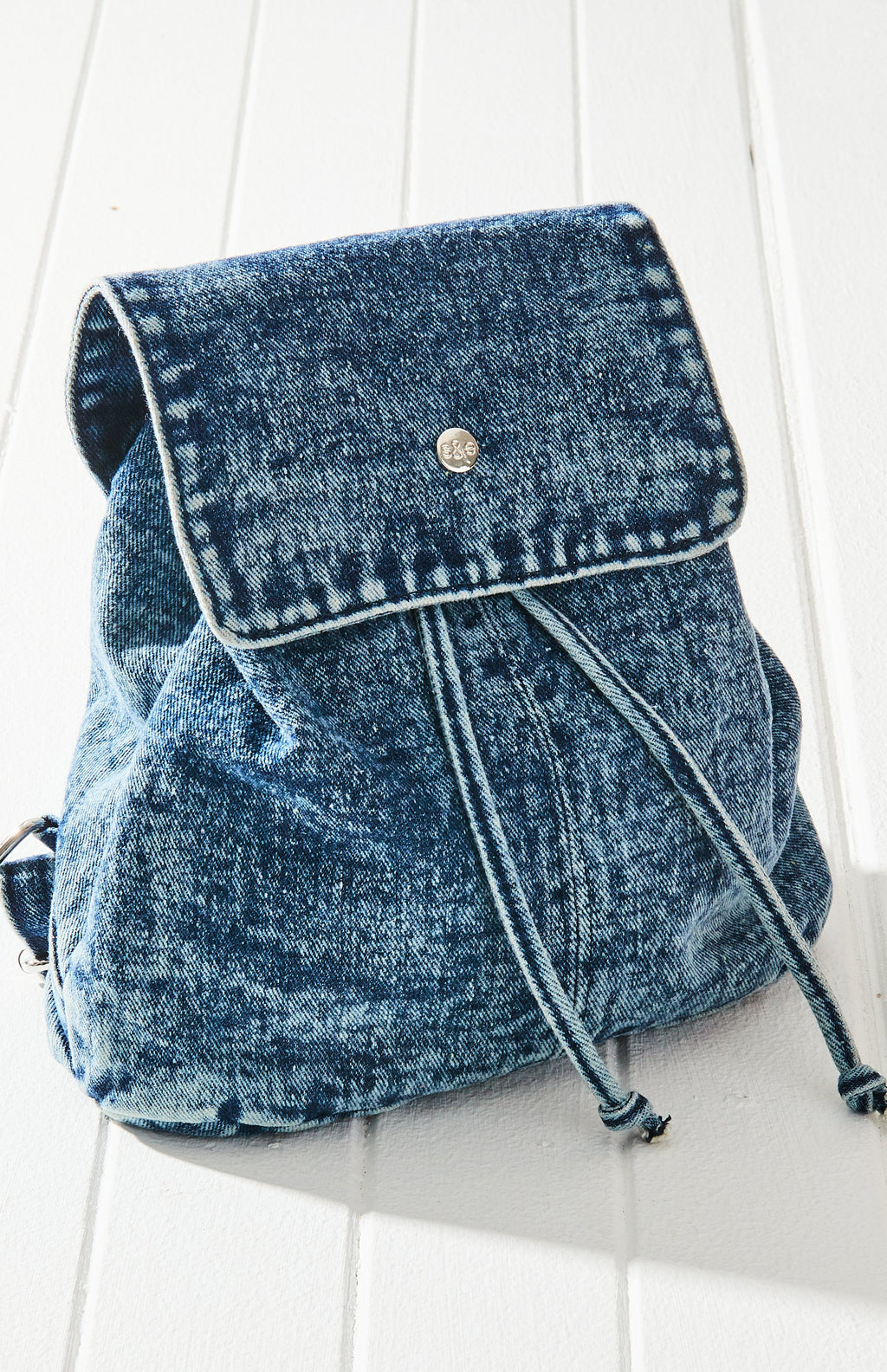Vintage Denim Acid Wash Mini Flap Backpack - Blue
