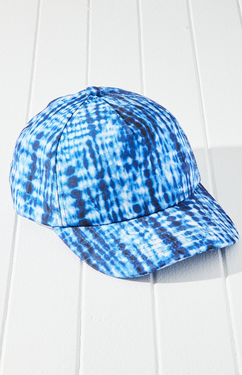 winter blue tie dye cap