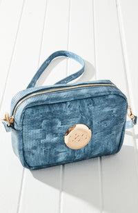 Tie Dye Embossed Vegan Leather Flap Crossbody Camera Bag