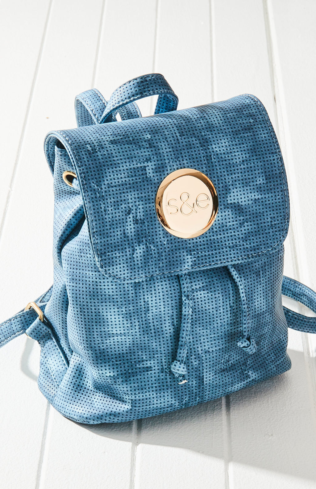 Tie Dye Embossed Vegan Leather Flap Mini Backpack