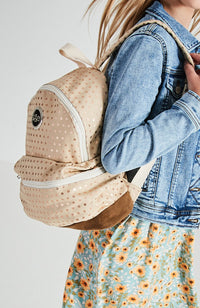 Foil Polka Dot Vintage Canvas Backpack - Beige