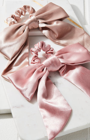 Satin Classic Big Bow Scrunchie Hair Tie 2 Pack