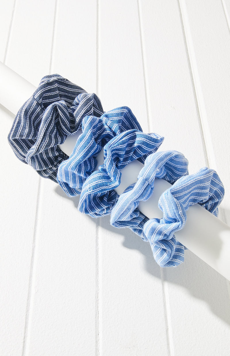 Vintage Striped Ombre Scrunchie Hair Tie 6 Pack