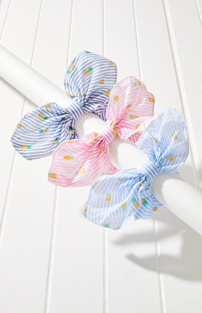 Pineapple Print Striped Bow Scrunchie Hair Tie 3 Pack