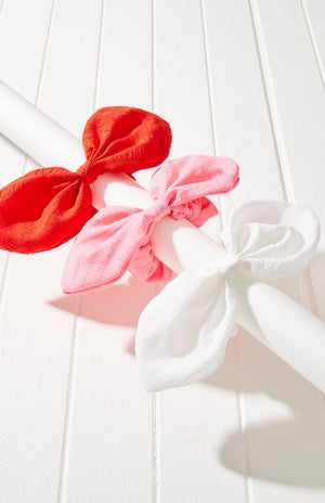 Big Bow Texture Scrunchie Hair Tie 3 Pack