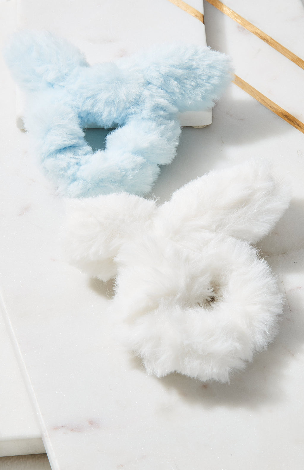 fur bow scrunchie set