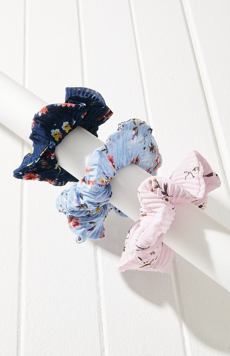 Pleated Floral Print Scrunchie Hair Tie 3 Pack