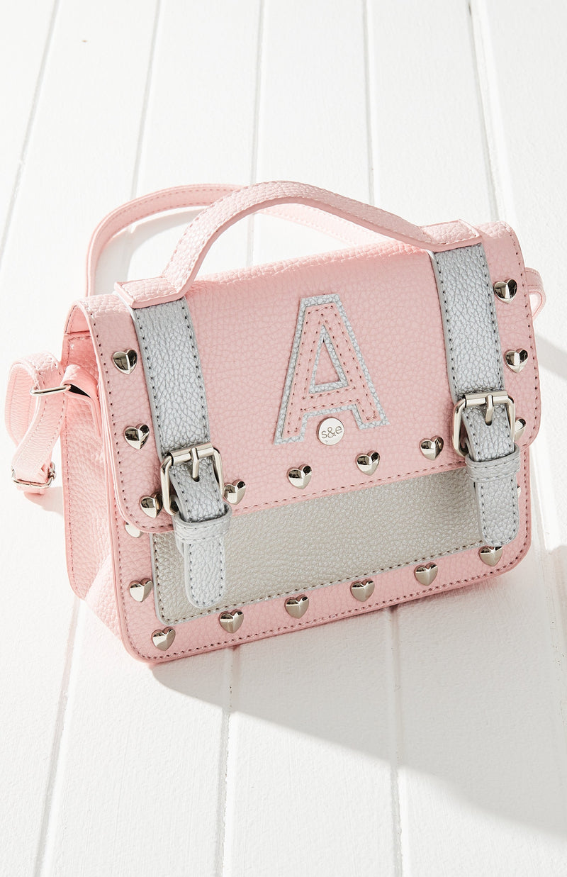 A' Heart Studded Crossbody Satchel Handbag - Pink