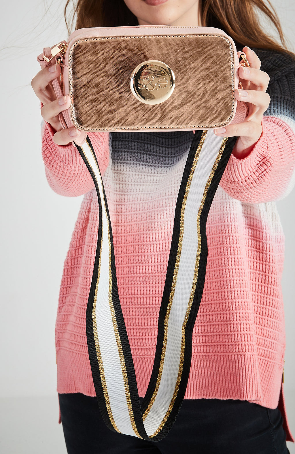 Metallic Striped Crossbody Logo Camera Bag