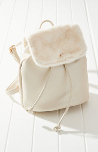 Super Soft Vegan Fur Metallic Mini Backpack