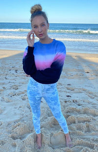 ange pink and blue candy tdip dye girls active sweat top