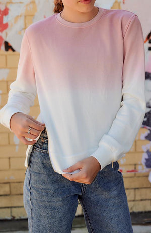 aurora pink dip dye gold zip girls sweat top
