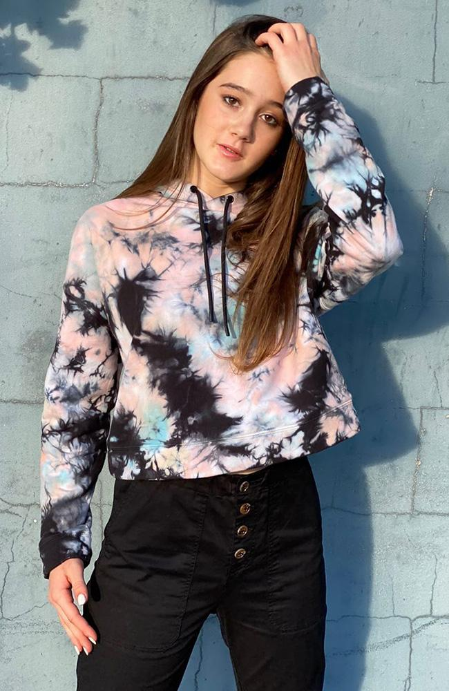 camilla 'festival' multi-coloured tie dye girls cropped sweat hoodie