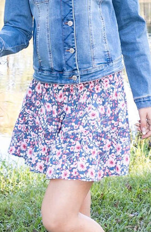 aneta floral shirred ruffle girls skirt