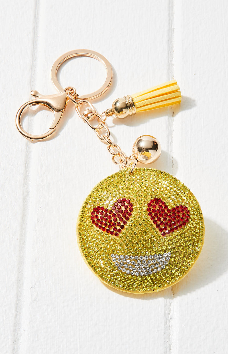 Heart Eyes Face Crystal Rhinestone Keyring - Yellow