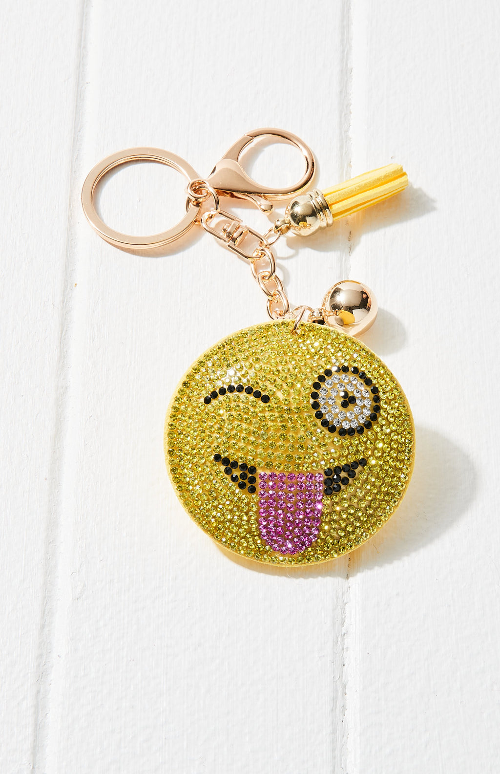Wink Face Crystal Rhinestone Keyring - Yellow