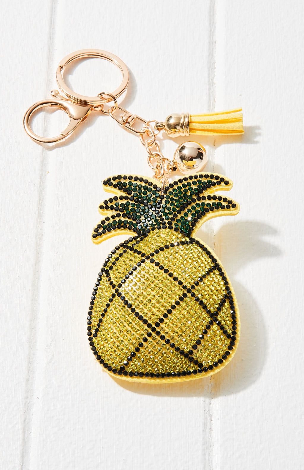 Pineapple Crystal Rhinestone Keyring - Yellow
