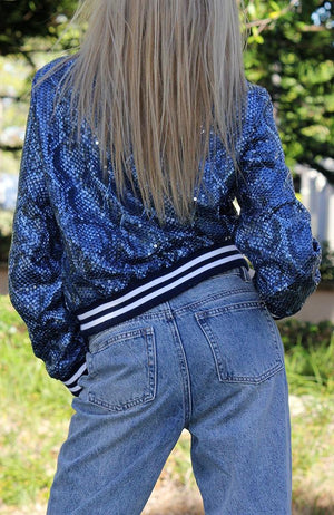 tiffany blue sequin bomber jacket