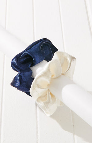 satin glossy oversized scrunchie hair tie set