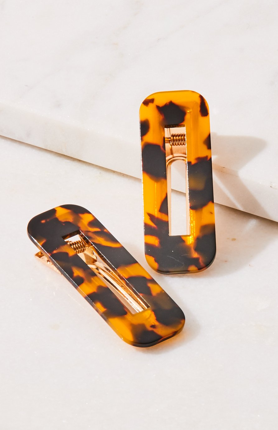 icon metallic tortoise shell resin vintage slide hair clip set
