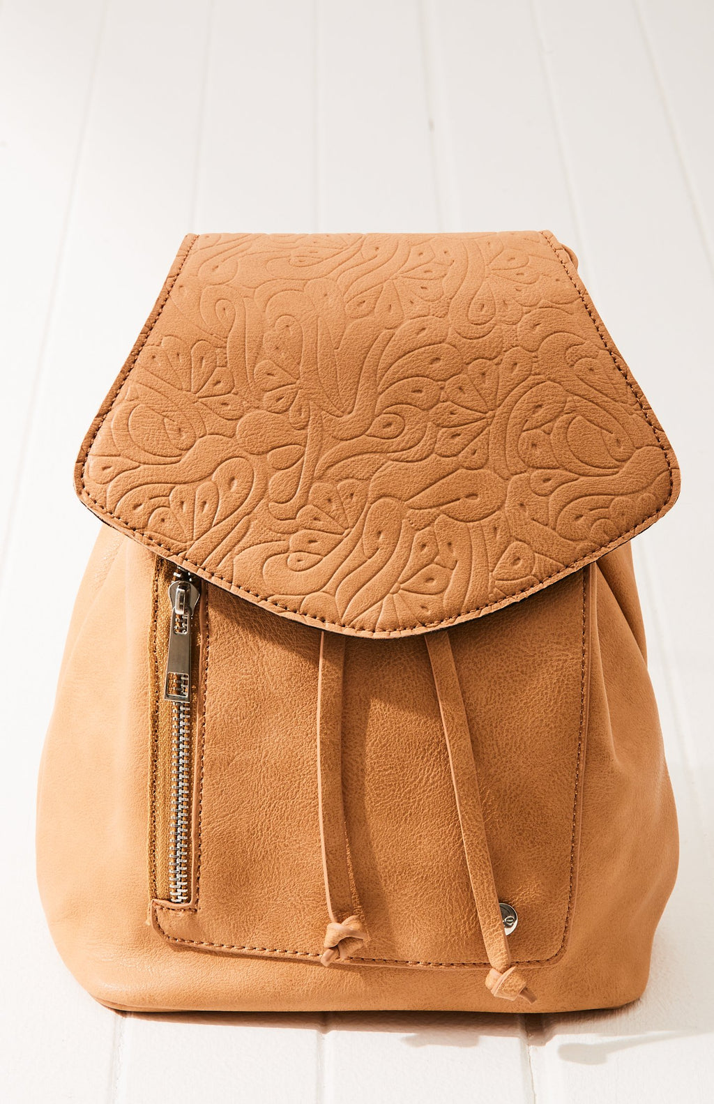 Hawaii Embossed Vintage Mini Flap Backpack - Brown Vegan Leather