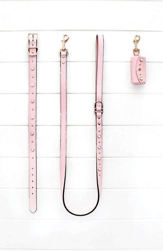 pink pearl studded vegan leather fashion dog lead