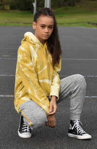 piper yellow swirl tie dye girls sweat hoodie