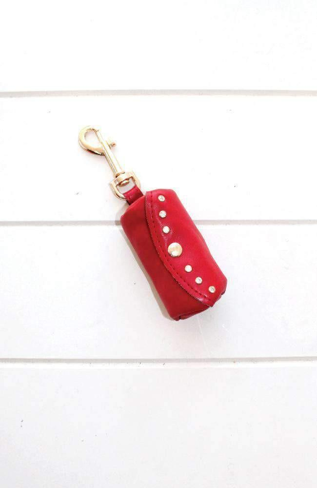 red diamond studded vegan leather dog poop waste bag holder