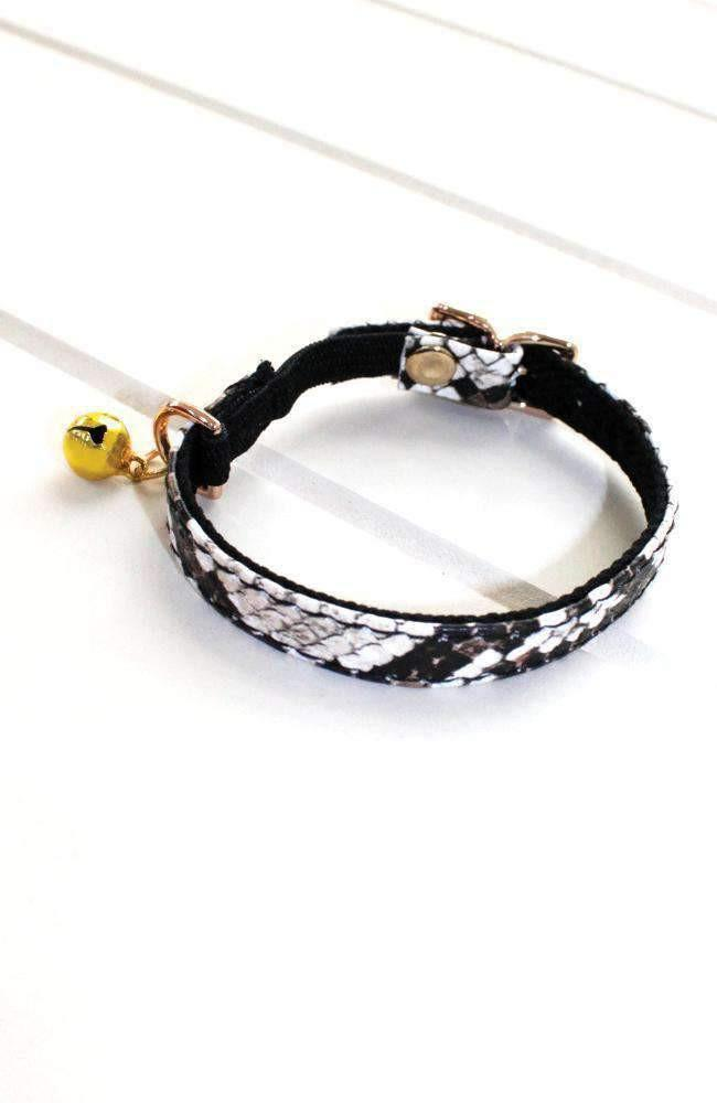 embossed snake vegan leather fashion kitten cat collar