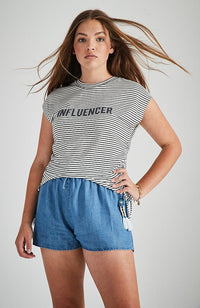 influencer black and white ruched slogan tee