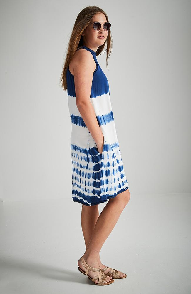 indie blue and white tie dye halter boho dress