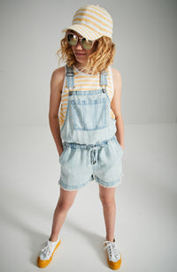 dreamy light blue washed and frayed lyocell boho playsuit